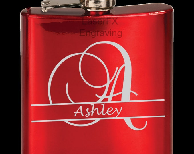 Personalized Gloss Red Flask, Your Choice of Image/Words, Custom Flask, Laser Engraved Flask, Personalized Gifts, Wedding Party Gifts