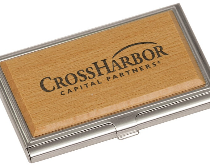 Personalized Bamboo Business Card Holder - Your Choice of Image/Words, Laser Engraved, Custom Business Card Holder, Personalized Gifts