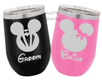 Mickey and Minnie Mouse Bride and Groom Wine Glass Set, Personalized, Set of 2, Disney Wedding, Wine Glass Gifts, Bridal Shower Gifts