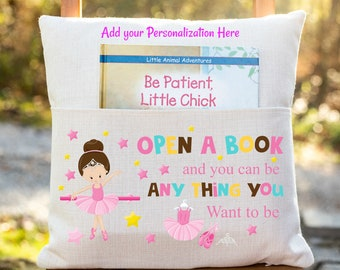 Personalized Book Pillow Cover, Ballerina Theme, Reading Pillow Cover, Girls Pocket Pillow Cover, Reading Book Pillow Cover,Childrens Pillow
