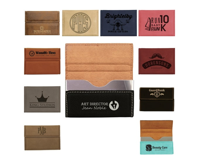 Custom Leatherette Business Card Holder, Your Choice of Image/Words, Laser Engraved, Personalized Business Card Holder, Personalized Gifts