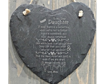 Personalized Slate Heart Plaque - To My Dear Daughter Sentiment - Winnie the Pooh Saying, Can be Personalized - Your Choice of Image/Words