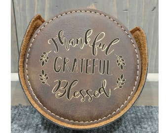 Personalized Leatherette Coaster Set, Rustic Laser Engraved with Gold, Set of 6, Personalized Gifts, Wedding Gifts, Housewarming Gifts