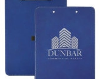 Custom Leatherette Clipboard, Your Choice of Image/Words, Blue/Silver Engraved, Personalized Clipboard, Office Clipboard, Business Clipboard