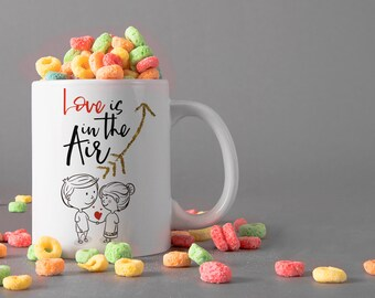 Love is in the Air Ceramic Mug, 15 oz., Can be Personalized - Custom Designed Mug, Personalized Mug, Valentines Gifts, Anniversary Gifts