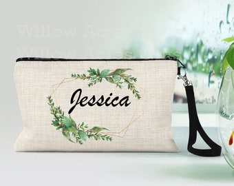 Personalized Makeup Bag, Can be Personalized, Sage Green, Custom Cosmetic Bag, Personalized Cosmetic Bag, Friend Gift, Bridesmaid Gifts