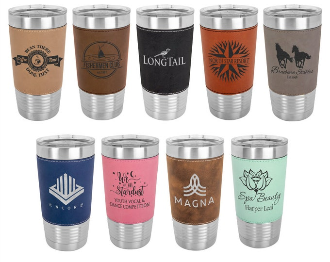 Custom Laser Engraved Leatherette Travel Mugs, Your Choice of Image/Words, 20 oz. Insulated, Yeti Style, Stainless Steel, Corporate Gifts