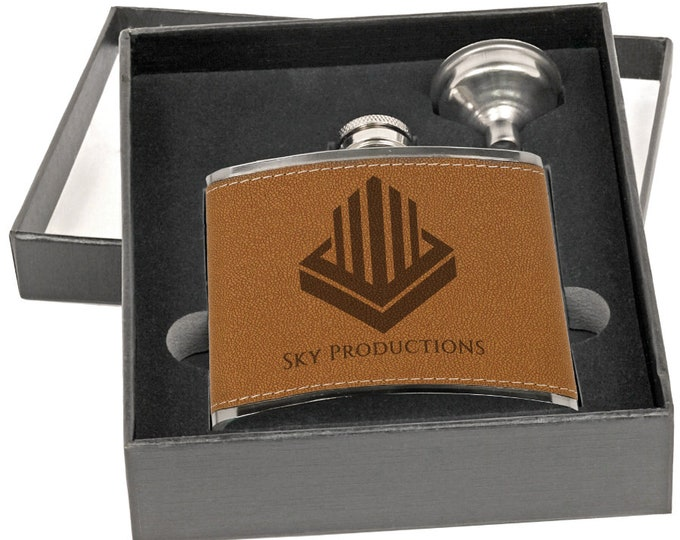 Personalized Leather Flask Set, Your Choice of Image/Words, Custom Flask, Laser Engraved Flasks, Groomsmens Gifts, Mens Gifts, Corporate