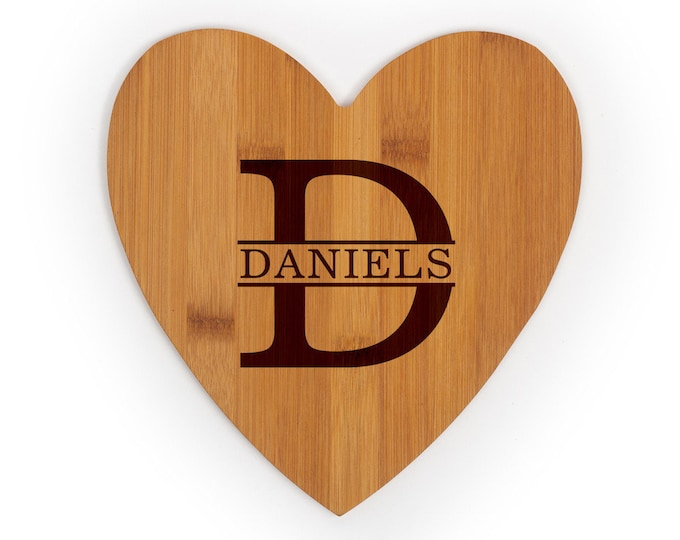 Personalized Heart Cutting Board - Your Choice of Image/Words, Bamboo Wood, Housewarming Gifts, Wedding Gifts, Custom Gifts, Corporate Gifts