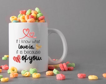 If I know what love is, it is because of you Ceramic Mug, 15 oz., Can be Personalized - Custom Designed Mug, Valentines Gifts, Anniversary