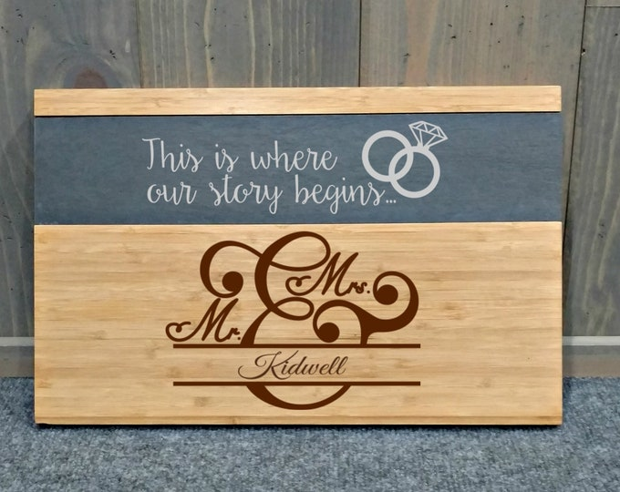 Laser Engraved Slate Cheese/Cutting Board - Your Choice of Image/Words, Housewarming Gifts, Wedding Gifts, Custom Gifts, Corporate Gifts
