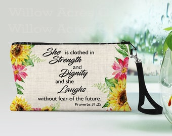 Custom Cosmetic Bag, Can be Personalized, She is clothed in Strength and Dignity- Proverbs 31:25, Makeup Bags, Makeup Pouch, Friends Gift