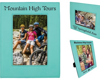 Personalized Leatherette Photo Frame, Teal, Custom Photo Frame, Engraved Photo Frame, 4x6, 5x7 or 8x10, Corporate Gifts, Personalized Gifts