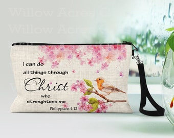 Custom Cosmetic Bag, Personalized, I can do all things through Christ who strengthens me-Psalm 4:13,  Makeup Bags, Makeup Pouch, Friend Gift