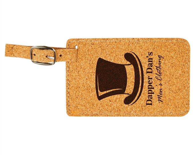 Personalized Luggage Tag, Your Choice of Image/Words, Laser Engraved, Cork with Brown, Custom Luggage Tag, Personalized Travel Tag, Bag Tag