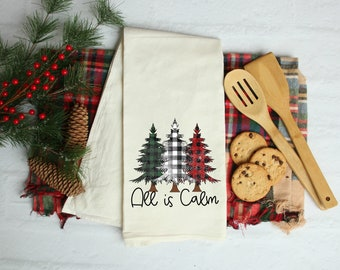 All is Calm Kitchen Towel, Christmas Tea Towels, Christmas Waffle Kitchen Towels, Buffalo Plaid Trees, Christmas Kitchen Towels, Dish Towels