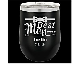 Personalized Wine Glass, Your Choice of Image/Words, Laser Engraved, Best Man Gifts, Custom Wine Glasses, Bridal Party Gifts,Groomsmen Gifts