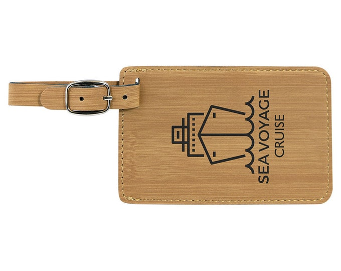 Personalized Luggage Tag, Your Choice of Image/Words, Laser Engraved, Bamboo Leatherette, Custom Luggage Tag, Personalized Travel Tag