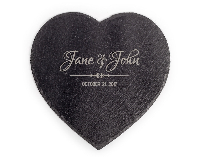 Personalized Slate Cheese Board - Your Choice of Words/Image, Custom Heart Cheese Board, Engraved Heart Cheese Board,Custom Heart Table Mat