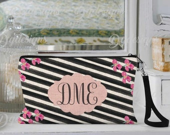 Personalized Makeup Bag, Can be Personalized, Pink and Black Stripe, Custom Cosmetic Bag, Personalized Cosmetic Bag, Friend Gift, Bridesmaid