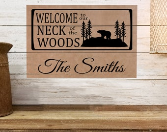 """Personalized Wall Art, Welcome to our Neck of the Woods - Bear, 12"""" x 18"""" Custom Wall Art, Personalized Wall Decor, Housewarming Gifts,"""