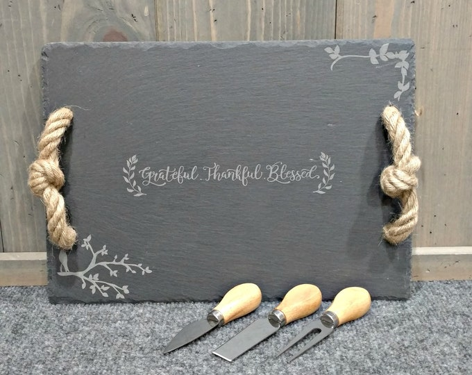 Laser Engraved Slate Cheese Board with Utensils, Thankful Grateful Blessed, Personalized Cheese Board, Wedding Gifts, Housewarming Gifts