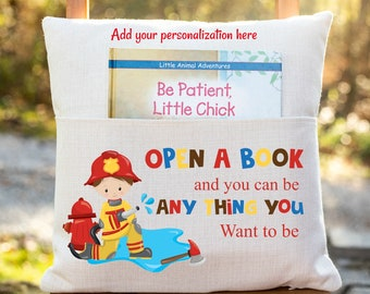 Personalized Book Pillow Cover, Fire Fighter Theme, Fireman, Reading Pillow Cover, Kids Pocket Pillow Cover, Reading Book Pillow Cover