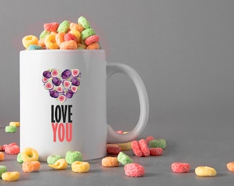 Love You Ceramic Mug, 15 oz., Can be Personalized - Custom Designed Mug, Personalized Mug, Valentines Gifts, Anniversary Gifts, Engagement