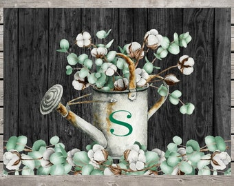Personalized Eucalyptus & Cotton Glass Cutting Board, Rustic Watering Can with a Distressed Wood Background, Country Theme Kitchen Decor