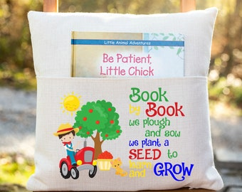 Personalized Book Pillow Cover, Farm Theme, Farmers, Tractor, Pocket Pillow Cover, Reading Book Pillow Cover, Custom Reading Pillow Cover