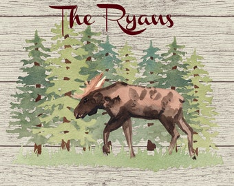Personalized Glass Cutting Board, Your Choice of Words, Distressed Wood Look Background with Woodland Moose Theme, Custom Cutting Board