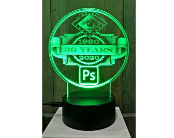 Laser Engraved LED Light Up Display/Sign - Your Choice of Image/Words, Multi-Colored, Acrylic, Custom Night Light, Custom LED Desk Lamp
