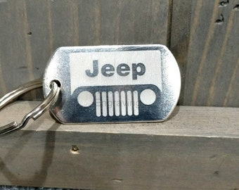 Jeep Dog Tag Key Chain or Personalize with Your Choice of Image/Words, Laser Engraved, Custom Gifts, Personalized Gifts, Jeep Custom Gifts