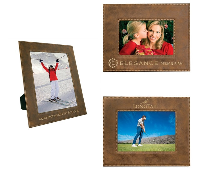 Personalized Leatherette Photo Frame, Rustic, Custom Photo Frame, Engraved Photo Frame, 5x7 or 8x10,Corporate Gifts, Personalized Gifts