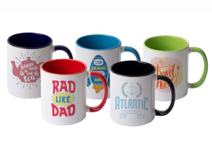 Custom Inner Color Mugs, Your Choice of Photo/Image/Words, 11 oz., Personalized Photo Mugs,Custom Picture Mugs, Ceramic Mug, Corporate Gifts