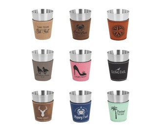 Personalized Shot Glass 2 oz., Your Choice of Image/Words, Leatherette, Engraved Shot Glass, Groomsmen Gifts, Bridal Party Gifts, Wedding