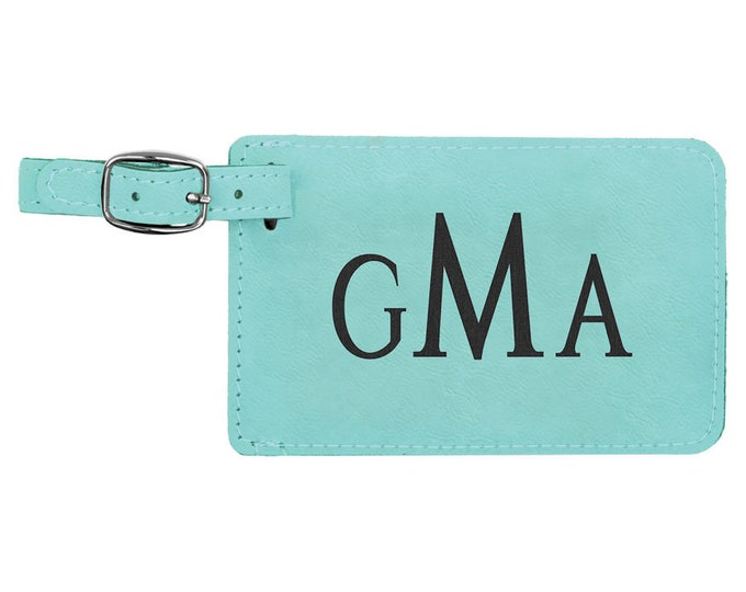 Personalized Luggage Tag, Your Choice of Image/Words, Laser Engraved, Teal with Black, Custom Luggage Tag, Personalized Travel Tag, Bag Tag
