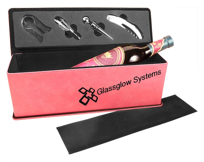Laser Engraved Wine Box with Tools, Your Choice of Image/Words, Pink Leatherette, Custom Wine Box, Personalized Wine Box, Corporate Gifts