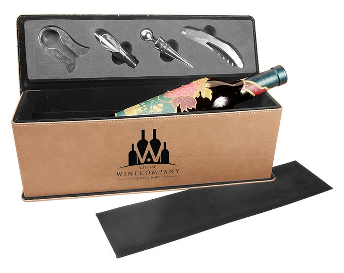 Laser Engraved Wine Box with Tools, Your Choice of Image/Words, Tan Leatherette, Custom Wine Box, Personalized Wine Box, Corporate Gifts