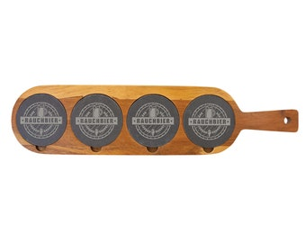 Personalized Acacia Wood/Slate Beer and Wine Flight Tray - Your Choice of Image/Words, Laser Engraved, Tasting Flight Paddle, Tasting Tray