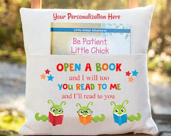 Personalized Book Pillow Cover, Bookworm, Pocket Pillow Cover, Reading Book Pillow Cover, Custom Reading Pillow Cover, Kids Book Cover