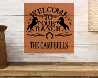 """Personalized Wall Art, Welcome to our Ranch, 10"""" x 10"""" Horse Ranch Decor, Custom Wall Art, Personalized Wall Decor, Custom Ranch Gifts"""