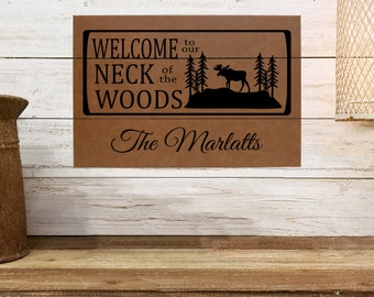 """Personalized Wall Art, Welcome to our Neck of the Woods, 12"""" x 18"""" Custom Wall Art, Personalized Wall Decor, Housewarming Gifts, Cabin Gifts"""