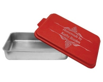 Personalized Cake Pan with Lid, Your Choice of Words/Image, Red, Housewarming Gifts, Gifts for Mom, Personalized Gifts, Wedding Gifts