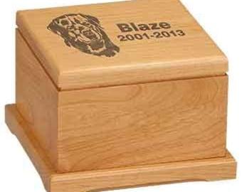 Personalized Pet Urn, Your Choice of Image/Words, Red Alder Wood, Custom Pet Urn, Engraved Pet Urn, Pet Cremation Urn, Pet Cremation Box