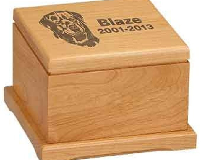 Personalized Pet Urn, Your Choice of Image/Words, Red Alder Wood, Custom Pet Urn, Engraved Pet Urn, Pet Cremation Urn, Pet Cremation Box