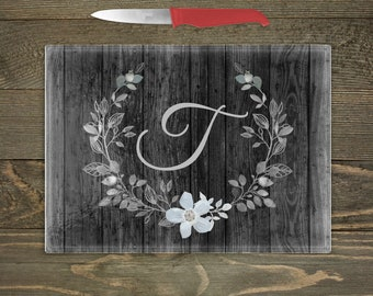 Personalized Glass Cutting Board, Simple Gray Floral Wreath with a Distressed Wood Background, Country Theme Kitchen Decor, Rustic Floral