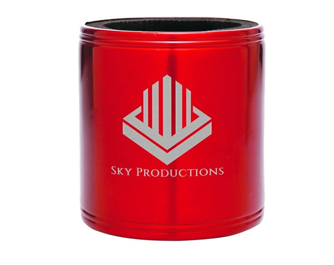 Personalized Can Cooler, Your Choice of Image/Words, Laser Engraved, Red Stainless Steel, Corporate Gifts, Groomsmen Gifts,Custom Can Cooler