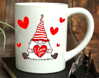 Valentine Gnomes Ceramic Mug, 15 oz., Can be Personalized, Personalized Coffee Cup, Custom Designed Cup, Valentines Gifts, Anniversary Mug