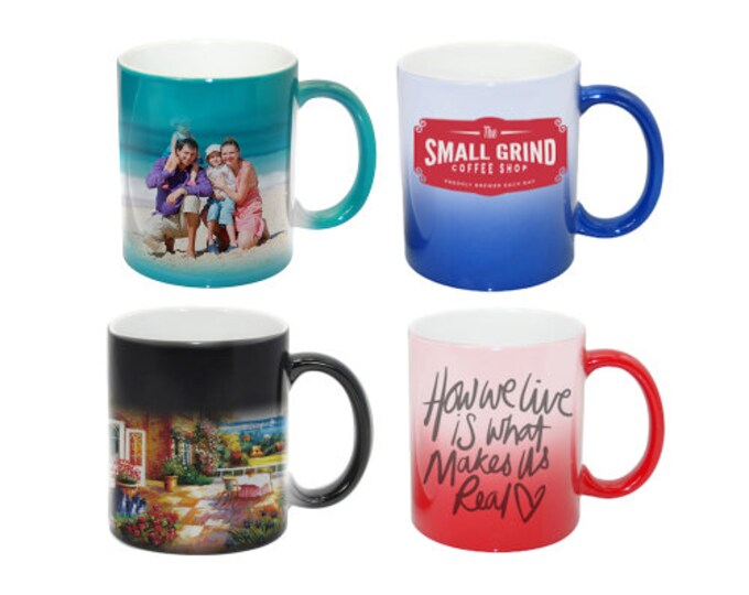 Custom Color Changing Mugs, Your Choice of Photo/Image/Words, 11 oz., Personalized Photo Mugs, Custom Picture Mugs, Personalized Gifts